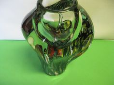 David Lotton Art Glass Hand Blown Crystal Blue Black Yellow and Red Fish Vase #teamsellit