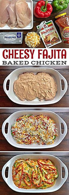 Low Carb Cheesy Fajita Baked Chicken Recipe -- A quick and easy dinner recipe for the family! It's cheap, simple, healthy and family friendly. Made with cream cheese, salsa and fajita seasoning. Low Carb Recipes, New Recipes, Cooking Recipes, Healthy Recipes, Recipies, Quick Recipes, Pork Recipes, Delicious Recipes, Pasta Recipes