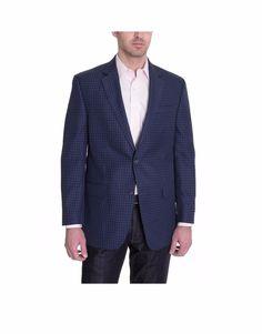 $275 Mens Sean John Classic Fit Blue Textured Two Button Blazer Sportcoat