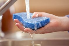 For an eco-friendly way to kill most bacteria, soak sponges for at least five minutes in full-strength white vinegar then let them air-dry (in the sun, if possible). If you decide to go the microwave route, you may still want to use a little vinegar to freshen the sponge before you nuke it so you don't end up with a house that smells like hot, musty sponge. Simply add a couple tablespoons of vinegar to a cup of water, soak your sponge and follow the microwave instructions above.