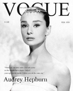 Audrey Hepburn on the cover of Vogue magazine in February Vogue Vintage, Capas Vintage Da Vogue, Vintage Vogue Covers, Vintage Fashion, Audrey Hepburn Outfit, Audrey Hepburn Eyebrows, Audrey Hepburn Bedroom, Audrey Hepburn Quotes, Foto Glamour