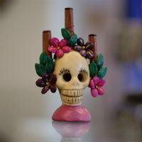 Small Clay Day of the Dead Skull Candleholder
