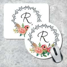 Monogram Mouse Pad Initial Mouse Pad Watercolor by MousePadCenter Watercolor Artwork, Printable Designs, Mousepad, Birthday Wishes, Office Decor, Initials, Floral Wreath, Monogram, Door Hangers
