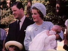 Viscount & Viscountess Althorp with Diana Frances on her christening day, August 30, 1961.