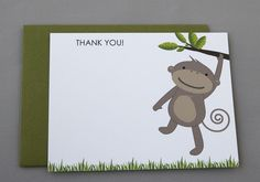 Monkey Baby Shower Thank You A2 Flat Note Cards by RatDogInk, $17.00