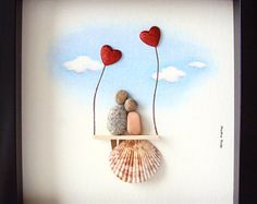 Best Wedding Gift- Pebble Art- Gift for Him and Her- Christmas Gift- Bride and Groom Gift- Unique Engagement Gift- Unique Wedding Gift - Hochzeitsgeschenk - Wedding Stone Crafts, Rock Crafts, Arts And Crafts, Diy Crafts To Sell On Etsy, Diy Crafts Hacks, Seashell Art, Seashell Crafts, His And Hers Christmas Gifts, Unique Engagement Gifts
