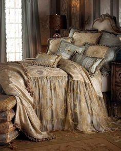Shop luxury bedding sets and bedding collections at Horchow. Browse our incredible selection of full, queen, and king size luxury bedding sets. Dream Bedroom, Home Bedroom, Master Bedroom, Bedroom Decor, Upstairs Bedroom, Spa Bedroom, Fantasy Bedroom, Cottage Bedrooms, Small Bedrooms