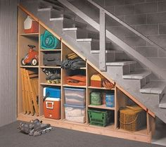 Maximize that tricky under-the-stairs storage spot with these tips. 5 Basement U. Maximize that tricky under-the-stairs storage spot with these tips. 5 Basement Under Stairs Storage Basement Makeover, Basement Renovations, Home Remodeling, Garage Renovation, Bathroom Remodeling, Under Basement Stairs, Garage Stairs, Basement Staircase, Shelves Under Stairs