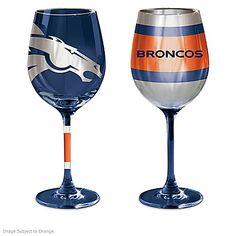 NFL Denver Broncos Wine Glass Collection: Set Of Two Stem Wine Glasses