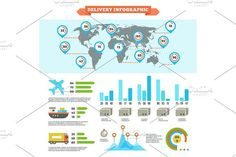 Logistics delivery shipping and cargo loading vector infographic with world map and charts. Infographic Elements