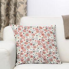 Farandole 3 - rood - Decoratiestoffen bloemen - stoffen.net