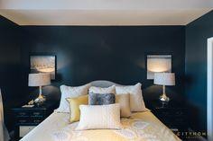 Andrea Beecher of cityhomeCOLLECTIVE design.  dark walls, black, yellow, contrast, bedroom, pillows, symmetry, cityhomecollective