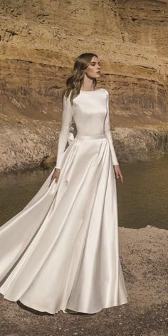 33 Cute Modest Wedding Dresses To Inspire ❤ modest wedding dresses a line simple with long sleeves pnina tornai #weddingforward #wedding #bride Modest Wedding Dresses With Sleeves, Hijab Wedding Dresses, Stunning Wedding Dresses, Best Wedding Dresses, Designer Wedding Dresses, Bridal Dresses, Beautiful Dresses, Satin Dresses With Sleeves, Satin Duchesse