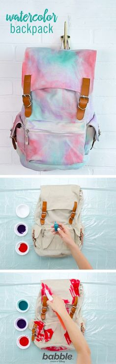 Add a pop of color to your kid's next school bag with this DIY Watercolor Backpack. Grab some fabric dye, sponges, and a spray bottle with water to get started on this trendy DIY backpack.