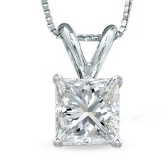 1 CT. Princess-Cut Diamond Solitaire Pendant in Platinum (H-I/VS2)