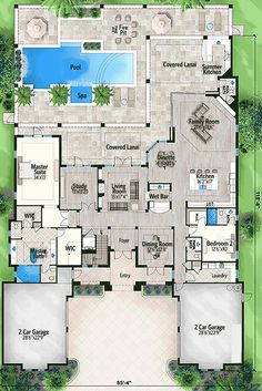 Five Bedroom Florida House Plan - 86016BW | 1st Floor Master Suite, Butler Walk-in Pantry, CAD Available, Corner Lot, Den-Office-Library-Study, Elevator, Florida, Luxury, Media-Game-Home Theater, PDF | Architectural Designs