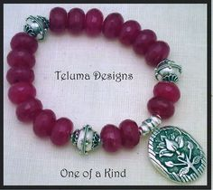 OOAK Lotus Charm Bracelet Sterling Silver and Faceted Dyed Crystal by Teluma Designs, www.telumadesigns.etsy.com http://www.sellergroup.com/shop/TelumaDesigns