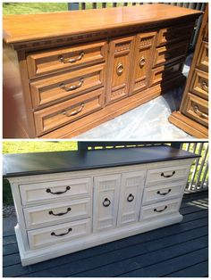 Kicking Ass  Crafting: Refinishing Furniture - I love the idea of painting the top the black color - gives it that slate countertop sort of look....