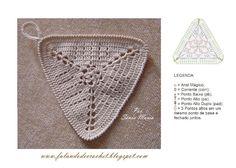 """""""FALANDO DE CROCHET"""": BATE MÃO DE CROCHE TRIANGULO  Graphed triangle motif"""