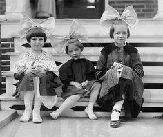 Bows , Beaus Big Giant Hair Bows Girls, Vintage Photo postcard, digital downlad