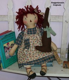 Primitive Raggedy Ann doll Dear Old Raggedy cupboard dolly Chocolate bunny  #NaivePrimitive #RaggedysusieOriginals