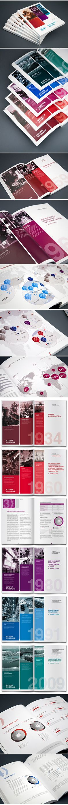 Good layout and use of colour. Annual report NLMK by Andrew Gorkovenko, via Behance Design Brochure, Booklet Design, Graphic Design Layouts, Graphic Design Print, Graphic Design Typography, Graphic Design Inspiration, Layout Design, Branding Design, Identity Branding