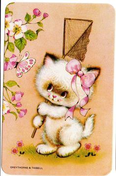 Vintage Swap Cards 1970s Blank Back Cute Cats Kittens   eBay