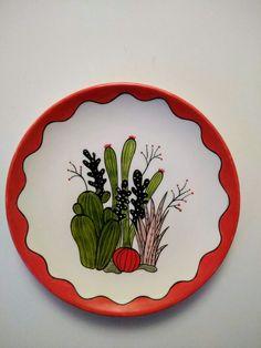 Ceramic Birds, Ceramic Clay, Ceramic Painting, Stone Painting, Cactus Wall Art, Cactus Print, Pottery Painting Designs, Paint Designs, Mandala Drawing