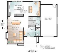 Plan de Rez-de-chaussée Maison contemporaine abordable, 3 chambres, garage, salle familiale + salle de séjour - Séquoia 2