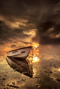 ~~Lonesome Boat • golden sunrise morning seascape, Denpasar, Bali, Indonesia • by Ade Irgha Airimagebali~~