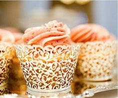 Cream Lace Filigree Cupcake Wrapper or Liners Ivory - Wedding Bridal or Baby Shower decorations - http://www.babyshower-decorations.com/cream-lace-filigree-cupcake-wrapper-or-liners-ivory-wedding-bridal-or-baby-shower-decorations.html