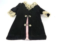 Vintage Black Velvet & Lace Doll Coat, Antique Buttons, Doll Collector Fashion Clothing by UrbanRenewalDesigns on Etsy