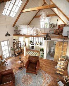 Casas Pequenas: +80 Fotos de Fora e de Dentro para Inspirar 2020 Layouts Casa, House Layouts, Loft Design, Tiny House Design, Modern Design, Modern Decor, Tiny House Layout, Cottage Design, Tiny Loft