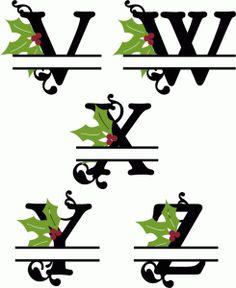 Silhouette Design Store - View Design #68406: holly split monograms v-z
