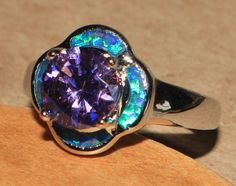 dark blue fire opal Amethyst ring gemstone silver jewelry Sz 7 cocktail flower S #Cocktail