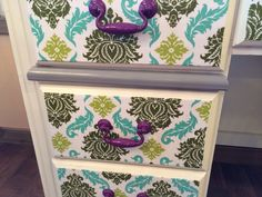 Upcycled desk with painted handles