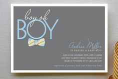 Bow Tie Boy Oh Boy Baby Shower Invitations by Elizabeth Victoria Designs at minted.com
