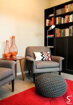 Sitting Room Red Rug Bookshelves Grey Chair Floor Lamp Accent Mid Century Interior Design