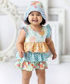 Matilda Jane Clothing Blue & Orange Let's Go Ballooning Romper & Bonnet - Infant