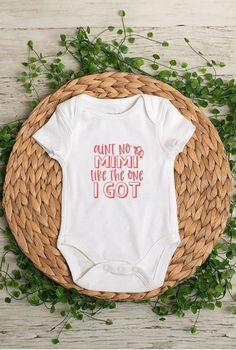 Aint No Mimi Like The One I Got Baby Bodysuit or Toddler Shirt. This shirt is a great gift and sure to get a laugh. *When ordering: SS = Short Sleeve, LS = Long Sleeve *Bodysuits are Carter's brand. Please see their sizing chart if you aren't sure what size to order. *All bodysuits are white. The