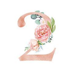 Peach Cream Blush Floral Number - digit 2 with flowers bouquet composition. Unique collection for wedding invites decoration & other concept ideas. Floral Letters, Monogram Letters, Container Herb Garden, 3d Sketch, Plant Illustration, Flower Frame, Wallpaper, Unique Weddings, Bunt