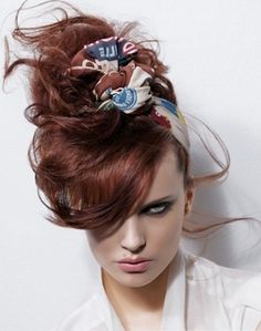 Messy Red Updo Hair Style 2014