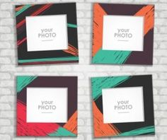 Funny photo frame vectors set 01