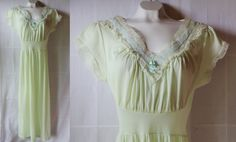 50s Nightgown / Linergie / Philmaid / Lace / by PetticoatsPlus, $24.00