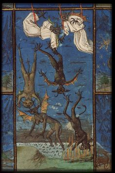 The Hague, KB, 76 E 7, f. 1r. Bible moralisée, Bruges; c. 1455-1460. The fall of the rebel angels.