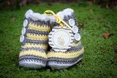 Crochet Stripe Baby Booties