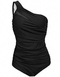 da3e996a14ecb Ekouaer Monokini Women's Swimsuit Plus Size Swimwear Lightly Padded  Beachwear (Black, ...