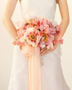 Perfect Wedding Color Palette: Sheer Citrus and Pink. A Blushing Bouquet: Balance the more angular facets of your decor with soft, organic notes: tree peonies and sweet peas, tied together with a flowing piece of diaphanous silk chiffon. Wedding Color Schemes, Wedding Colors, Wedding Styles, Colour Schemes, Floral Wedding, Wedding Bouquets, Flower Bouquets, Purple Wedding, Spring Wedding