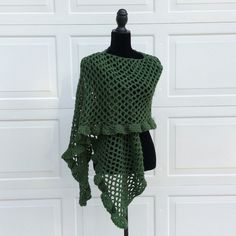 Handmade Leaf green extra long wrap You can also cover your head/hair and wrap the remainder around your neck and shoulders. Length (approx): 14.5 inches Width (approx): 82.5 inches Leaf green 100% Acrylic. Crocheted. (Fvzo) Handmade Accessories