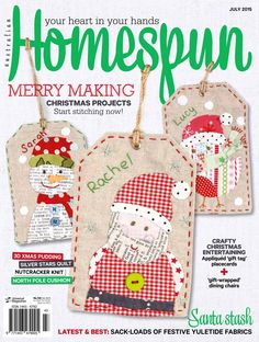 Australian Homespun magazine July 2015 issue on sale now! Available from www.universalshop.com.au or digital issues through Zinio, www.zinio.com
